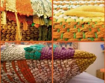100% ecológico, ECO, cojín marco tejido con materiales generados a MEDIDA
