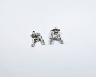 BR10 - Set of 2 silver metal dog charms
