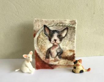 Sphynx kitten wool painting, needle felted cats wool painting, cats, kittens, kitties, nursery, gift, birthday, cards,