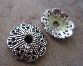 50  Antiqued Silver-Plated Pewter Bead Caps, 12x2mm Filigree Round - JD6