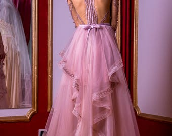 Short Rose ash evening dress with detachable skirt, Short and long formal dress in purple, Dance prom dress with removable skirt