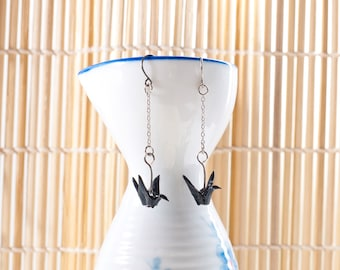 Origami earrings crane in black paper on thin silver chain eco-friendly jewelry -Made to order