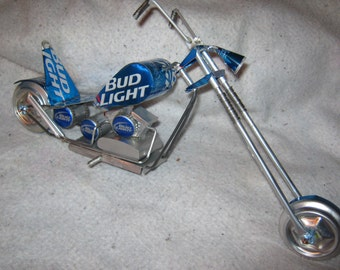 Recycled aluminum Bud Light can custom chopper motorcycle