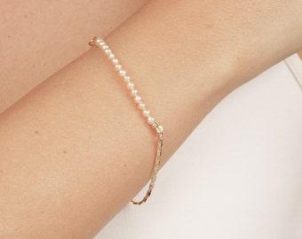 Gold Pearl Bracelet Tiny Pearl Bar Bracelet layered bracelet Delicate Bridal gold filled bracelet blush wedding jewelry.