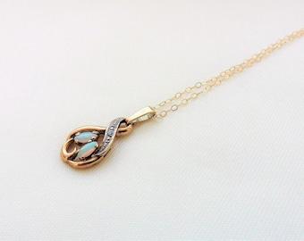 Opal And Diamond Pendant - 9ct.  Opal Pendant. 9ct Pendants. Vintage Jewellery.   Opals Jewellery