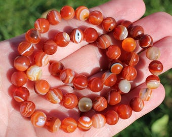 10 ROUND MULTICOLORED 8 MM AT81 ONYX AGATE BEADS