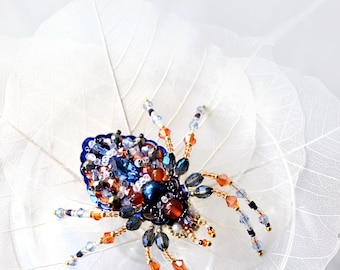 Colorful spider brooch Unique handcrafted spider jewelry art, bead embroidered orange dark blue wonderful spider gift for Spider Lover