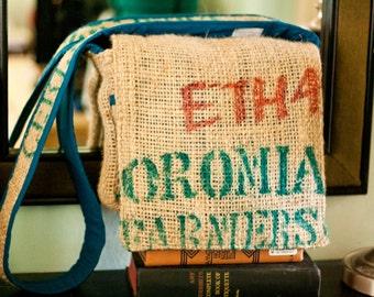 "Repurposed Jute Coffee Sack Messenger Bag - ""ETH4"" by FanGirl. SuperHero."