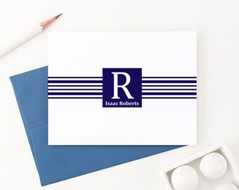 Monogram Stationery for men, Personalized Correspondence cards, Mens Monogrammed Note cards, Custom Stationery for Men - ML008