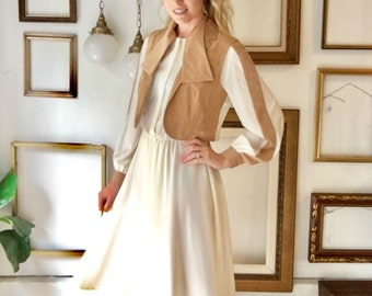 Vintage Cream and Tan Dress with Ultra Suede Vest - Free Ship