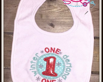 Winter Onederland Birthday Bib--Available in many colors!
