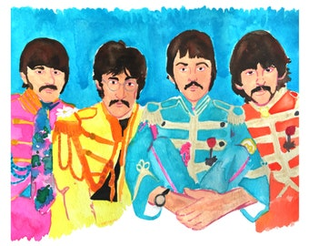 The Beatles Art, Beatles Print, Fan Art, The Beatles Watercolor, Sgt. Pepper's Lonely Hearts Club Band