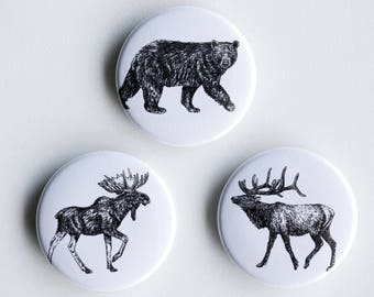 "Elk, Moose, Bear Magnets - Big Boys Set of Strong Magnets - 1.5"" - Fridge Magnets - Animal Magnet Animal Decor Woodland kitchen"