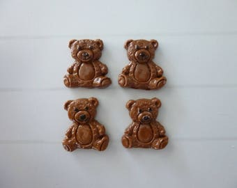 Set of 4 Teddy bear made of polymere clay
