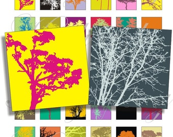 Bright color branch and trees  1x1 inch images for pendant, scrapbook and more Digital Collage Sheet No.745