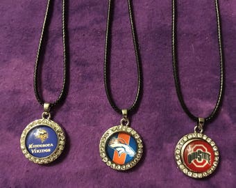 Great 18mm Snap Necklaces with Rhinestones and You Pick Your Sports Favorite Team