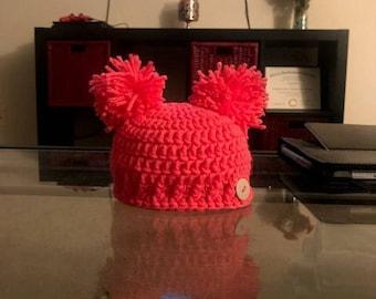 Double Pom Newborn Hat