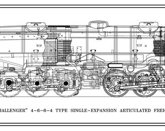 """Union Pacific """"Challenger"""" 4-6-6-4 Type Locomotive Drawing - Side View"""