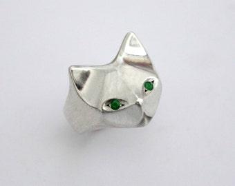 Cat Sterling Silver Ring,cat lover gift, Egyptian Cat ring,  Geometric Cat Ring , Cat jewelry, cat ring, kitten ring, green eye cat