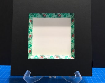 Custom black mat with green floral/tropical bevel accent, extra deep bevel