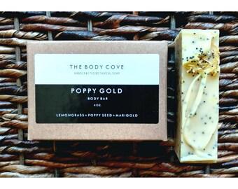 Poppy Gold Scrub Bar - All natural soap, Handmade soap, Vegan soap, Cold process soap, Essential oil soap, Bar soap, Exfoliating soap