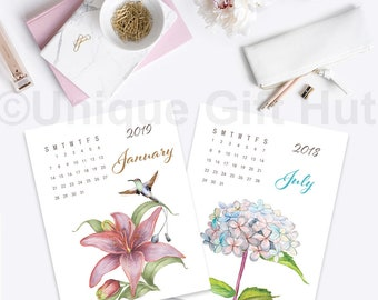 2018 and 2019 watercolor floral desk calendar, Printable Watercolor Flower & bird Monthly Calendar, Monthly Page, DIGITAL DOWNLOAD