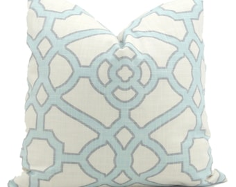 Decorative Pillow Cover, Aqua and White Trellis Decorative Pillow Cover, Square, Eurosham or lumbar pillow, Accent Pillow, Toss Pillow