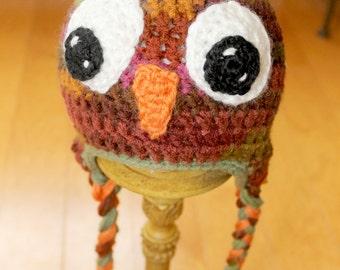 Handmade Crochet Owl Earflap Hat