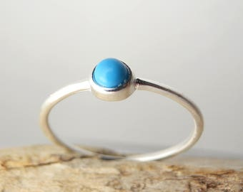 Turquoise Silver Ring. Open Ring. Adjustable Ring. Stackable Ring. Stone Ring. Dainty Turquoise. Sterling Silver Ring. Simple Ring.