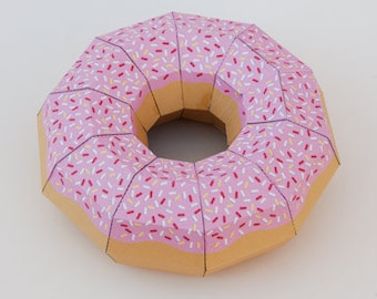 Donut 3d papercraft pdf, GIFT diamond tamplate for free