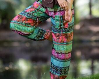 Shanti Yoga Ali baba Pants (Pink and Blue) - Yoga Hippie Sarouel Pants Stylish Stretchy Boho Bohemian Gypsy