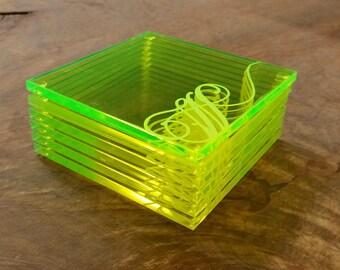 Personalized Coaster Set - Acrylic Coaster Set - Monogram Coasters - Green Fluorescent Coasters - Custom Coaster Set - Custom Drink Coasters