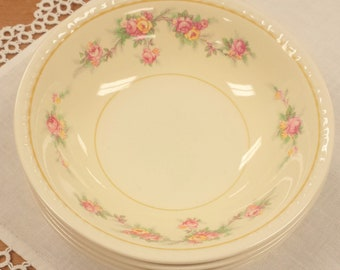 Set of 5 Berry Bowls ~ Homer Laughlin Georgian G3370 ~ Dessert ~ Pastel Yellow Pink Roses