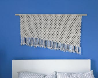 Large Asymetric Wall Hanging / Macrame Wall Art / Knotted Tapestry