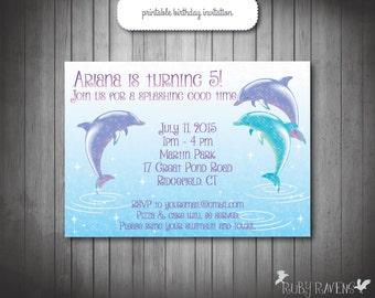 Dolphin Invitation, Pool party invitation, Swim party invitation, beach birthday invitation, splash pad, dolphin invite