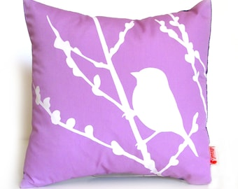 Lavender Bird on Cherry Blossom - Mini 10.5 Inches Square Pillow