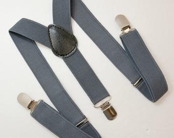 Charcoal Dark Gray Adjustable Suspenders Y-Back Sizes  6 months - ADULT Baby Boy Boys Kids Children Mens Adult Groom Page Boy Wedding