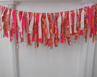 rag garland vibraint garland patterned fabric garland bohemian garland shabby gypsy garland party decoration  boho garland  nursery decor