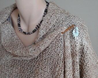 Handspun handknit Camel and Silk Wrap
