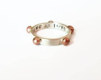 Sterling Silver Stack Rings,Japa ring, mixed metal Japa ring,Mantra Repitition ring, Meditation Ring, Yogic Ring, prayer ring, stacking ring