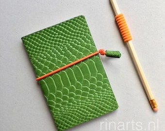 Leather notebook in green snake print embossed leather. Gift under 10