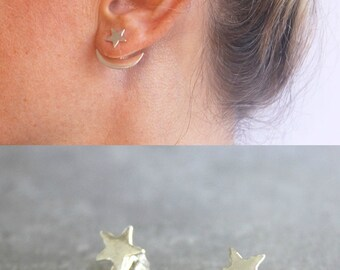 Star ear jacket, Star and moon earrings, sterling silver ear jacket, trendy earrings.