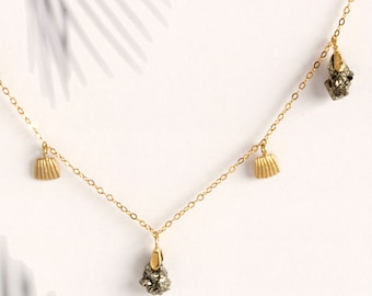 Pyrite stone and Gold Shell Dangle Necklace, Dainty Dangle Necklace, Choker Necklace Silver with Stone, Layering Boho Necklace