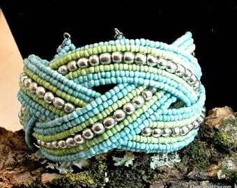 Blue Beaded Cuff Bracelet Vintage Cuff Bracelet Blue Green Silver Bead Bracelet Boho Bracelet Seed Bead Bracelet