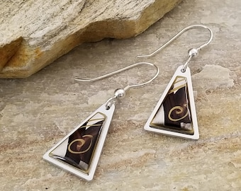 Black, Gold & Silver, Modern Triangle Earring, Handcrafted Abstract Metal Jewelry, Presents For Her, Gift - Milos Earrings by Jon Allen