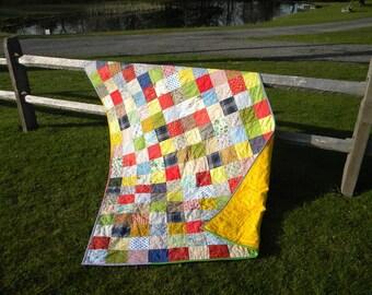 Patchwork Quilt, Classic Americana --lap size--54X81--cotton patchwork quilt, cotton blanket, retro patchwork quilt, scrappy, vintage vibe