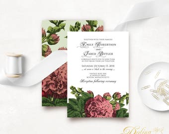 Wedding Invitation Floral Printable Invite Template Garden Wedding Rustic Flower Invites Outdoor Wedding Pink Green Invite Front & Back #HHS