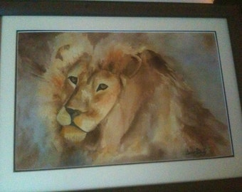 The King - an original watercolor 29 x 20 1/2  matted framed and protected with museum glass