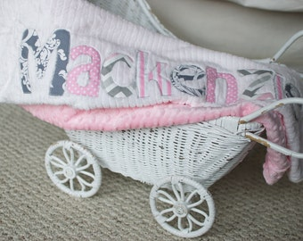 Monogrammed Baby Blanket in OVERCAST, Pink Dot Minky and White Chenille, Personalized with Your Baby Girl's First Name in Pink and Grey