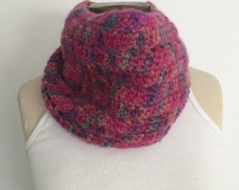 Crocheted Multicolor Cowl/Neckwarmer/Infinity Scarf - FREE U.S. SHIPPING